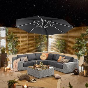 Galaxy 3.5m Round Cantilever Parasol with LED Lights - Grey