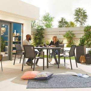 Milano 4 Seat Dining Set - 1.2m Round Table - Grey Frame