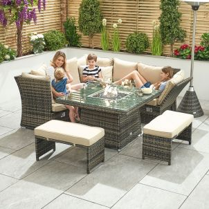 Compact Cambridge Reclining Casual Dining Corner Sofa Set with Firepit Table - Brown