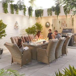 Carolina 8 Seat Dining Set - 2m x 1m Rectangular Firepit Table - Willow