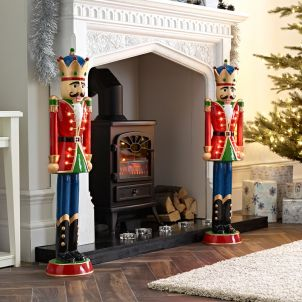 Pair of 3ft Red Norbert Christmas Nutcrackers
