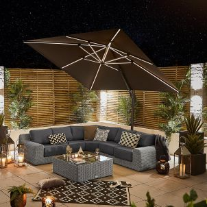 Galaxy 3m x 3m Square Cantilever Parasol with LED Lights - Grey