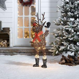 Standing Rudolph the 100cm Brown Rattan Christmas Reindeer