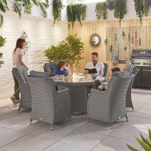 Thalia 6 Seat Dining Set - 1.5m Round Firepit Table - Slate Grey