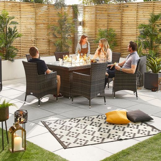 Nova - Amelia Fireglow 6 Seat Rattan Dining Set - 1.5m x 1m Rectangular Gas Fire Pit Table - Brown