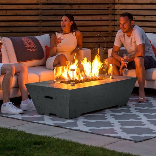 Fireglow Gladstone Rectangular Gas Firepit Coffee Table with Wind Guard - Light Grey