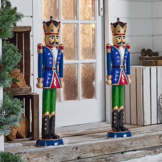 Pair of 3ft Blue Norbert Christmas Nutcrackers