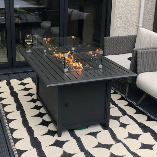 Mercury 130cm x 90cm Rectangular Aluminium Firepit Table