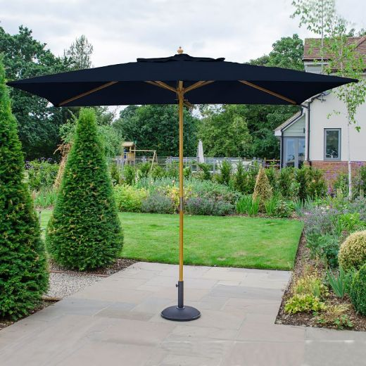 Dominica 3m x 2m Rectangular Wooden Parasol - Pulley Operated - Navy