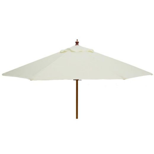 Pulley Operated Wooden Garden Parasol - 2m Round - Natural