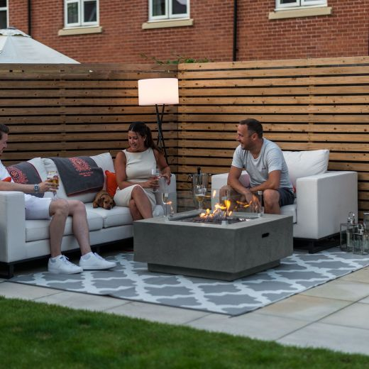 Fireglow Albany Square Gas Firepit Coffee Table with Wind Guard - Light Grey