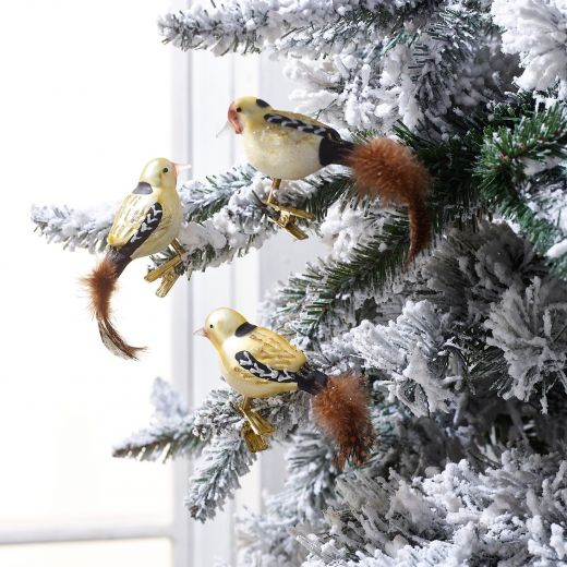 Embrace Nature Set of 3 Glass Bird Clip On Ornaments