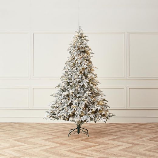 6ft Pre-Lit Snowy Noble Pine Artificial Christmas Tree