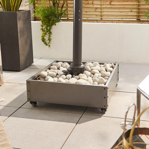 Stone Fillable Metal Cantilever Parasol Base with Wheels