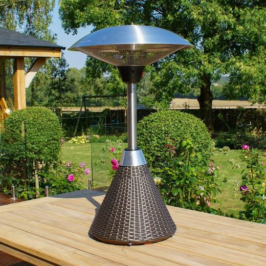 2.1kW Table Top Electric Patio Heater with Rattan Base - Brown