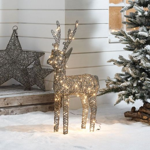 Ralph the 100cm Grey Rattan Christmas Reindeer