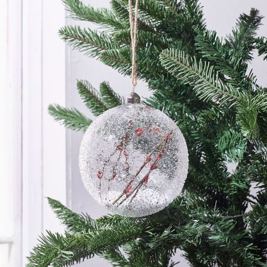 Country Christmas Glass Snow Berry Bauble