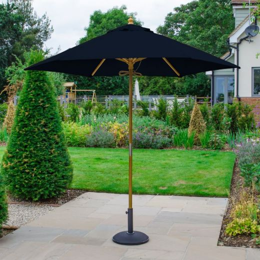 Dominica 2.5m Round Wooden Parasol - Pulley Operated - Navy