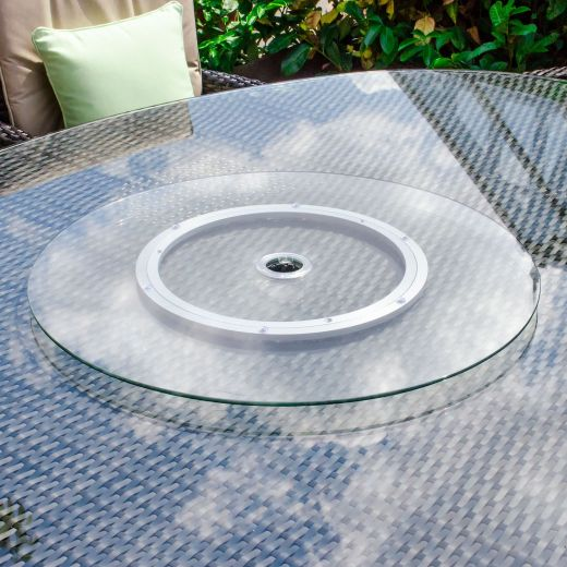 60cm Rotating Glass Lazy Susan with Parasol Hole