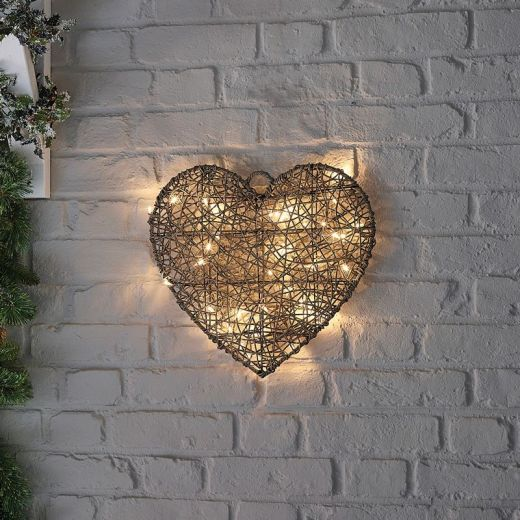 Cupid the 40cm Grey Rattan Christmas Heart - Battery Operated