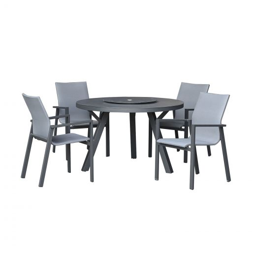Roma 4 Seat Dining Set - 1.2m Round Table - Grey Frame