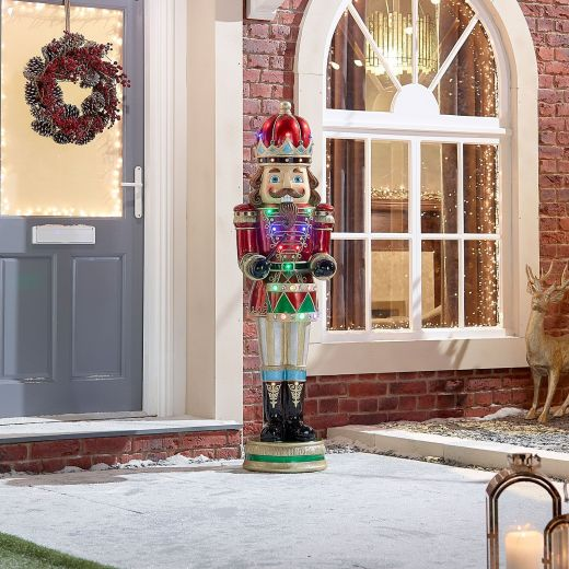 Henri the 5ft LED Musical Drumming Nutcracker - Multi Coloured