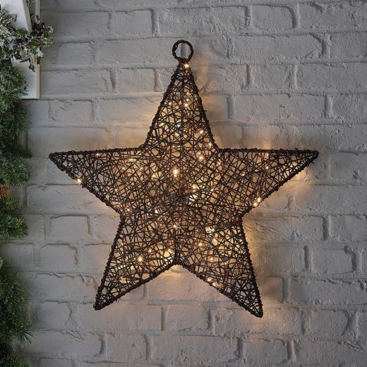 Ringo the 70cm Brown Rattan Christmas Star - Battery Operated