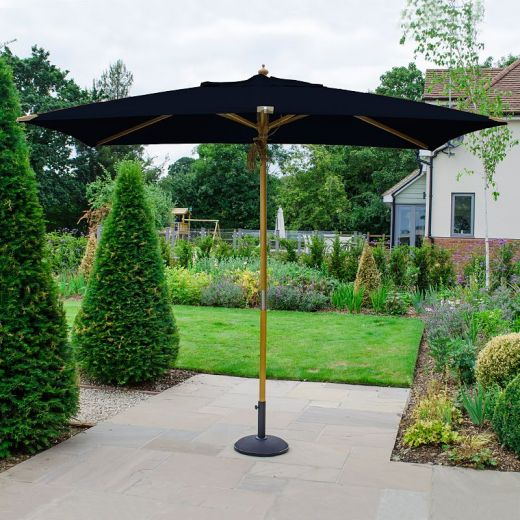 Dominica Deluxe 3m x 2m Rectangular Wooden Parasol - Double Pulley Operated - Navy