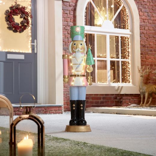Noel the 3ft Pastel Pink Christmas Nutcracker with Tree