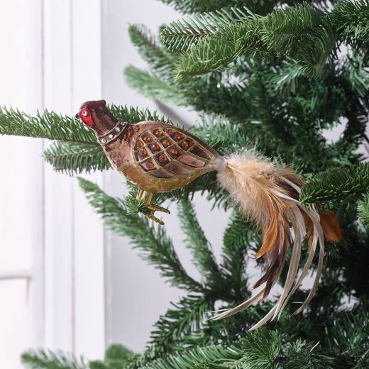 Country Christmas Glass Clip on Pheasant Ornament