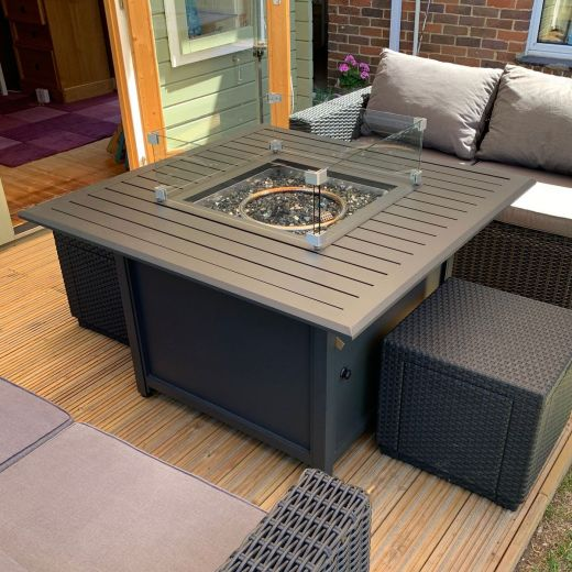 Mercury 103cm Square Aluminium Firepit Table