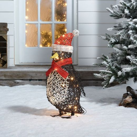 Percy the 60cm Rattan Christmas Penguin - Battery Operated