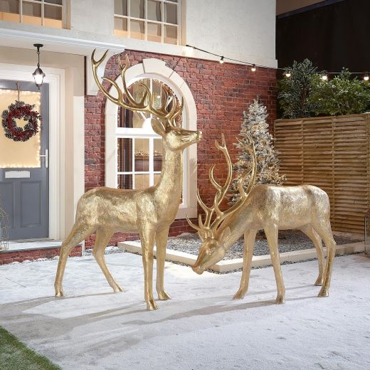 The Large Gold Christmas Reindeer Duo