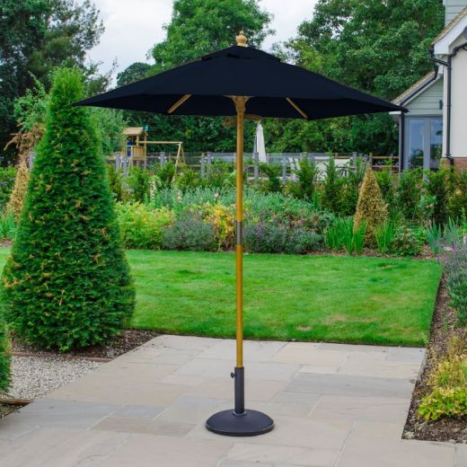 Dominica 2m Round Wooden Parasol - Pulley Operated - Navy