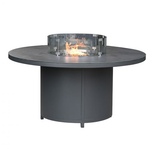 Round Aluminium Firepit Dining Table - 1.5m - Grey Frame
