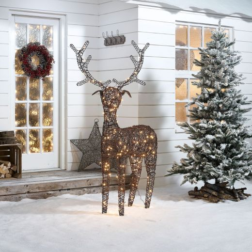 Ralph the 180cm Brown Rattan Christmas Reindeer