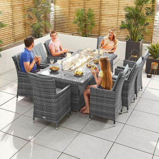 Sienna 8 Seat Dining Set - 2m x 1m Rectangular Firepit Table - Grey