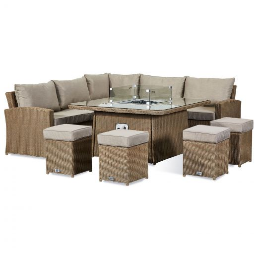 Deluxe Ciara Casual Dining Corner Sofa Set with Firepit Table - Willow