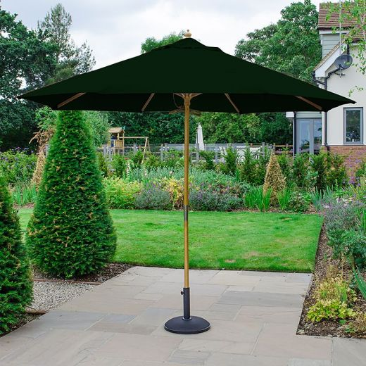 Dominica 3m Round Wooden Parasol - Pulley Operated - Green