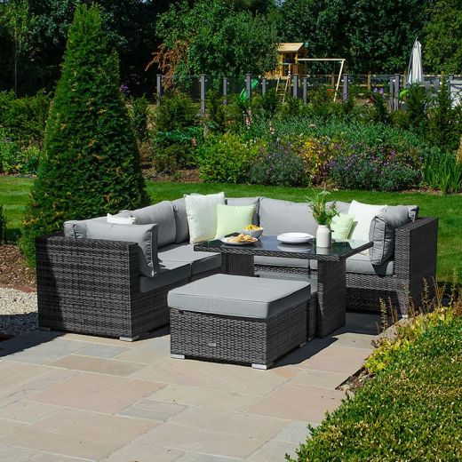 Chelsea Corner Sofa Set with Small Casual Dining Table - Grey