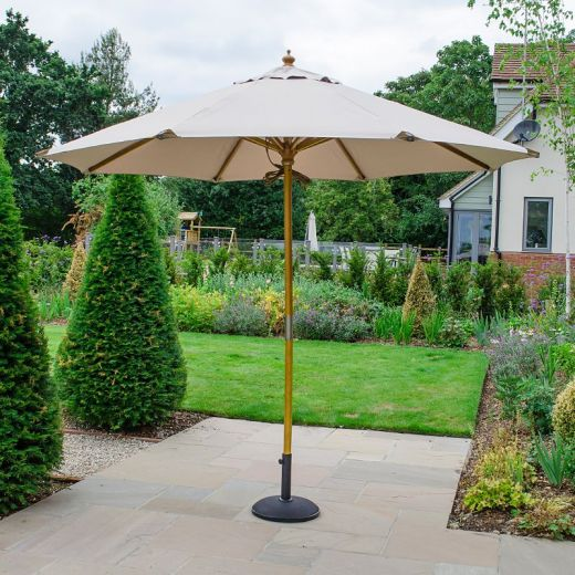 Dominica Deluxe 3m Round Wooden Parasol - Double Pulley Operated - Natural