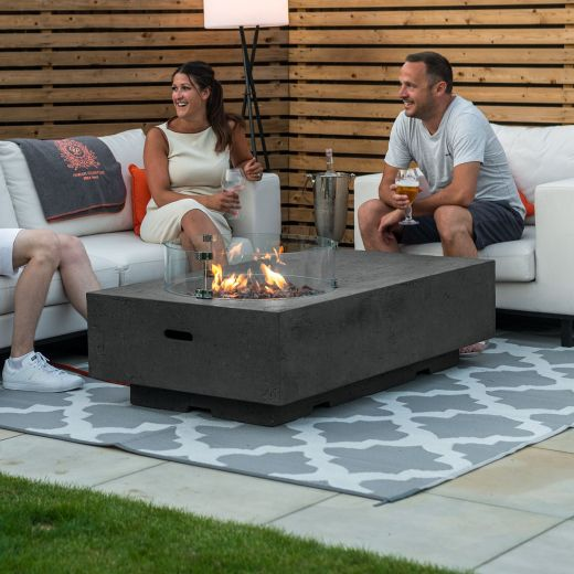 Fireglow Cairns Rectangular Gas Firepit Coffee Table with Wind Guard - Dark Grey