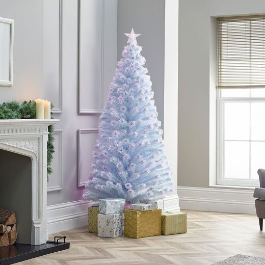 7ft Fibre Optic White & Pink Artificial Christmas Tree