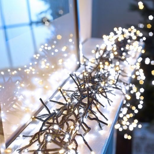 480 Cool & Warm White Mix LED Cluster Christmas Lights (6.9m Lit Length)