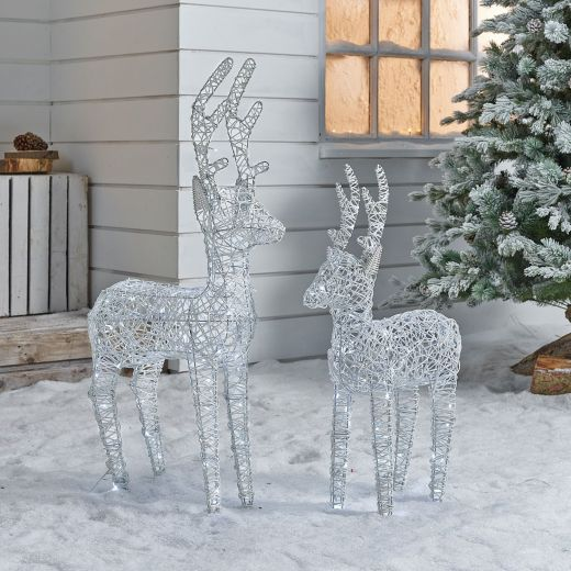 The Ralph Siblings - 100cm & 80cm White Rattan Christmas Reindeer
