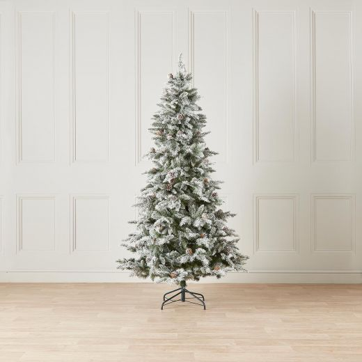 8ft Slim Snowy Grand Fir Artificial Christmas Tree