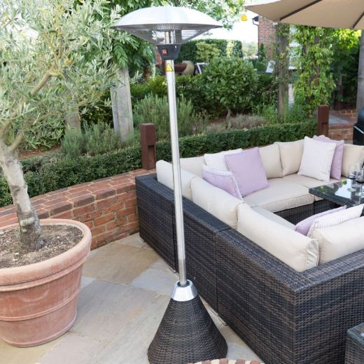 2.1kW Free Standing Electric Patio Heater with Rattan Base - Brown