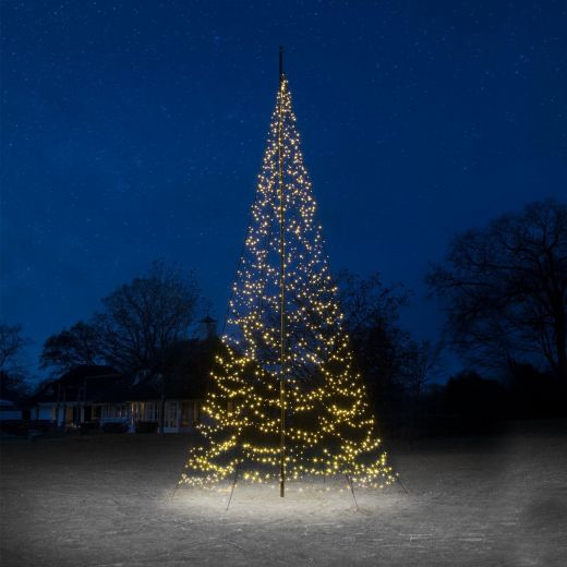 Fairybell 8m 1500 Warm White LED Outdoor Christmas Tree with Sectional Flagpole