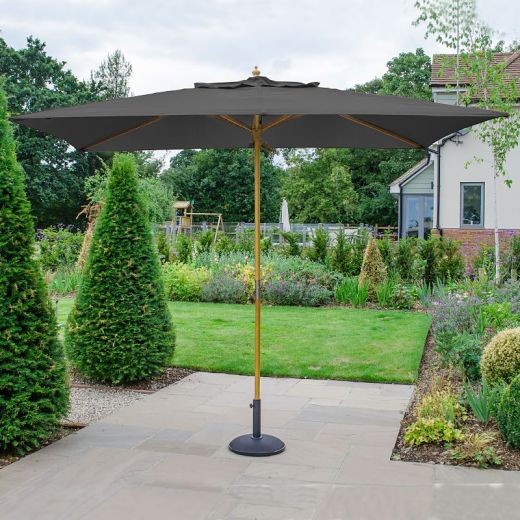 Dominica 3m x 2m Rectangular Wooden Parasol - Pulley Operated - Grey