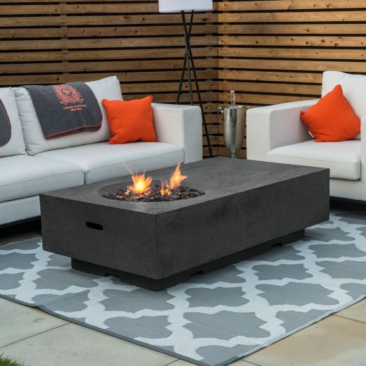Fireglow Cairns Rectangular Firepit Coffee Table - Dark Grey